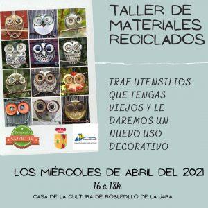¡TALLER DE MATERIALES RECICLADOS!